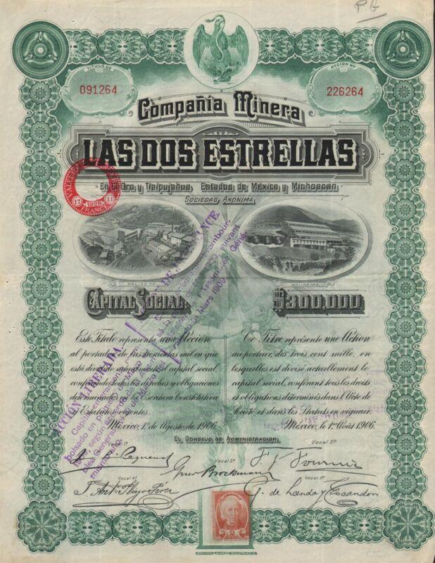 MEXICO LAS DOS ESTRELLAS COMPANY BOND stock certificate 1906