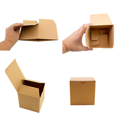 10pc 50pc Brown Kraft Square Boxes Paper Candy Party Favor Gift Box Wedding (Kraft Square)