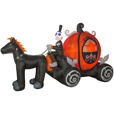 Pumpkin Carriage Halloween Inflatable Projection Fire & Ice Light Effect Blow Up