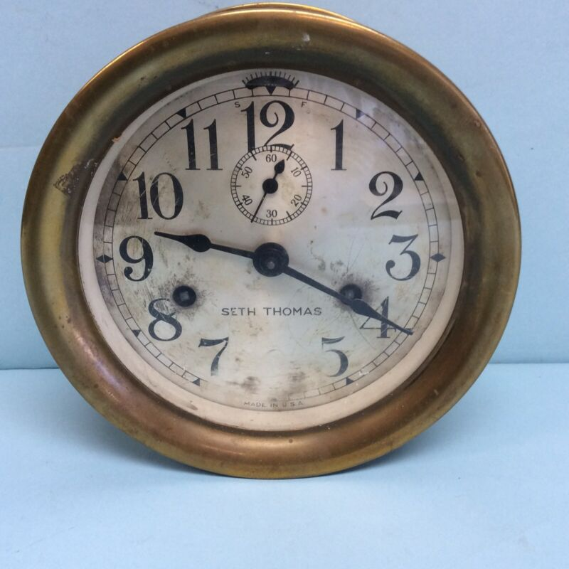 "Seth Thomas Brass Ship Clock 7"" Diameter"