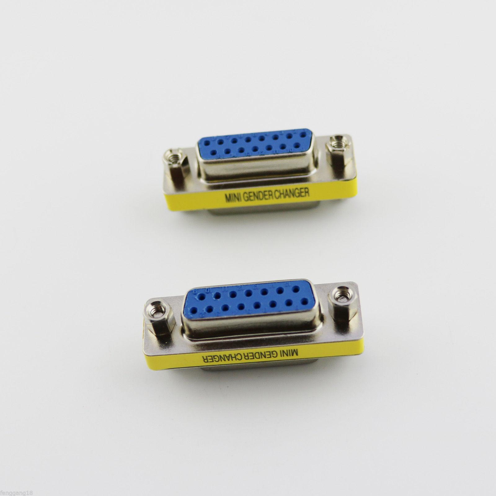 D-SUB VGA//SVGA 15 Pin DB15 Female 3 Rows To Female Mini Gender Changer Adapter