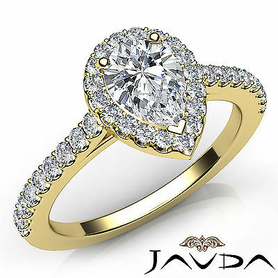 Halo French Pave Set Pear Cut Diamond Engagement Anniversary Ring GIA F VVS2 1Ct