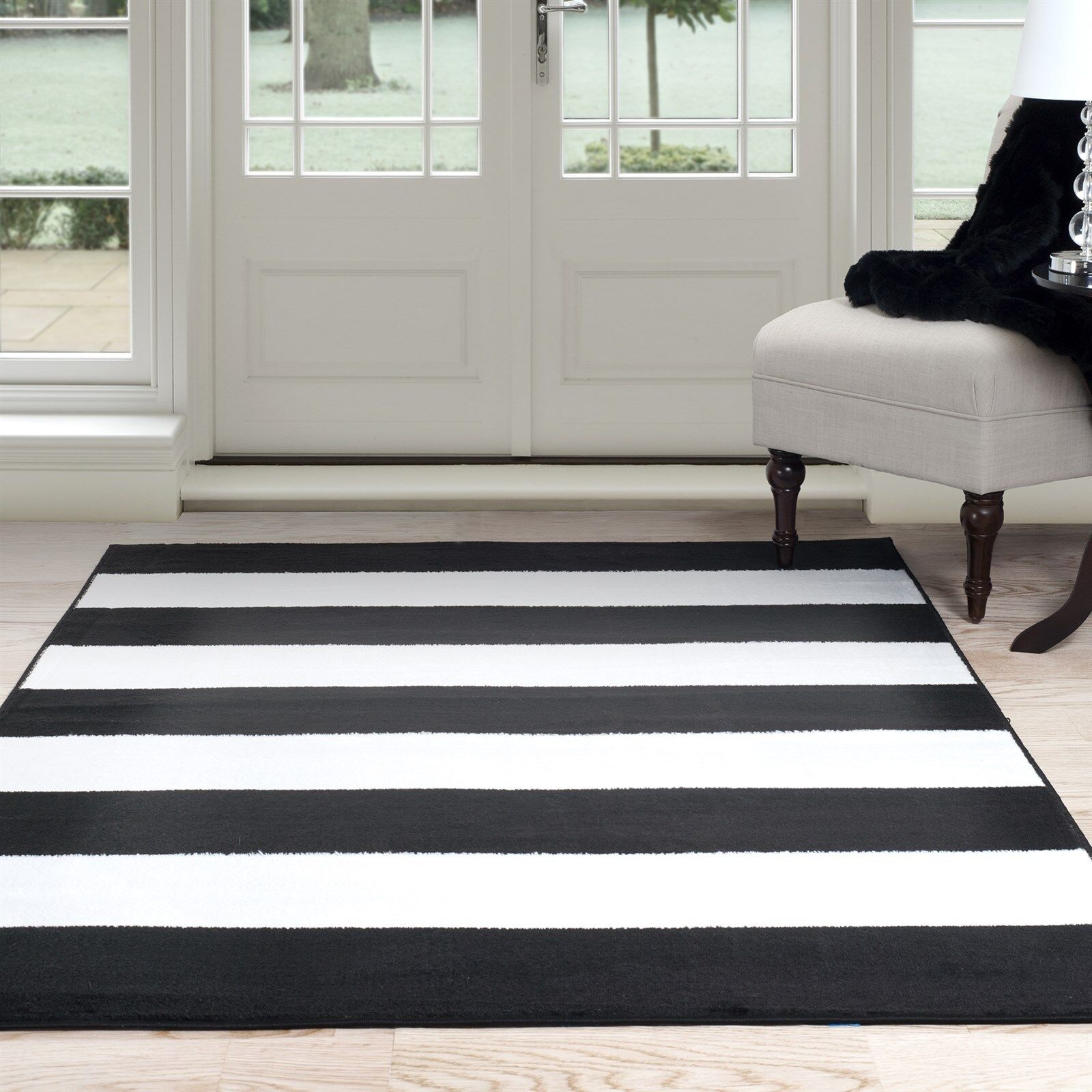 Lavish Home Breton Stripe Area Rug, 5' by 7'7, Black/White