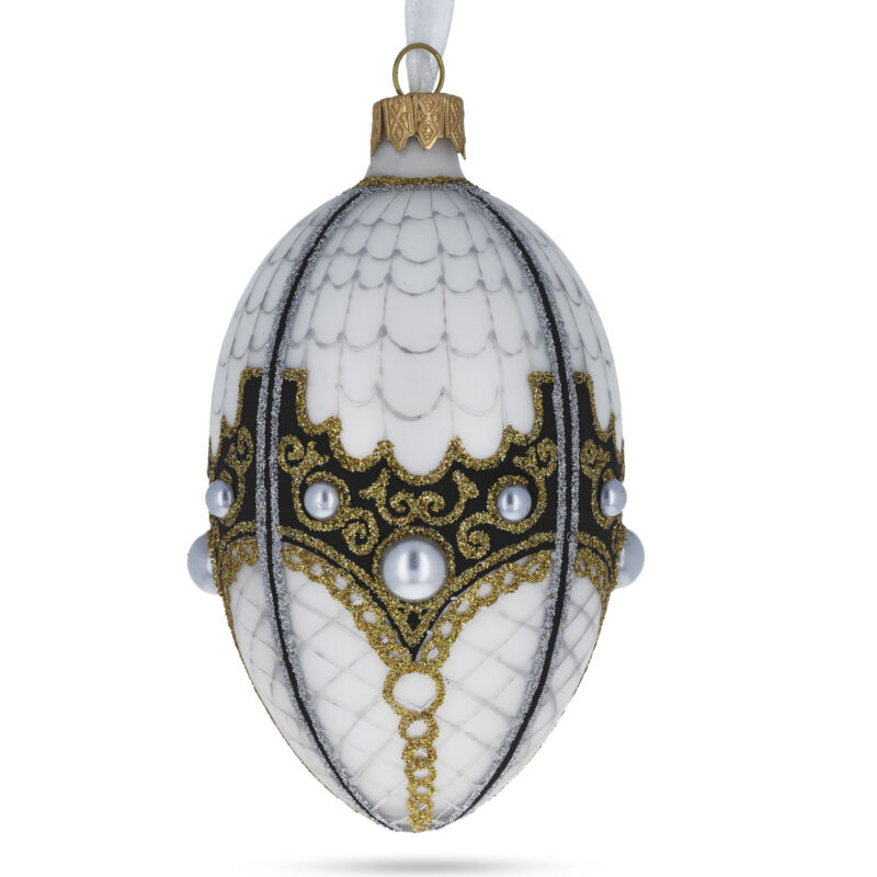 Mother Of Pearl on White Glass Egg Christmas Ornament