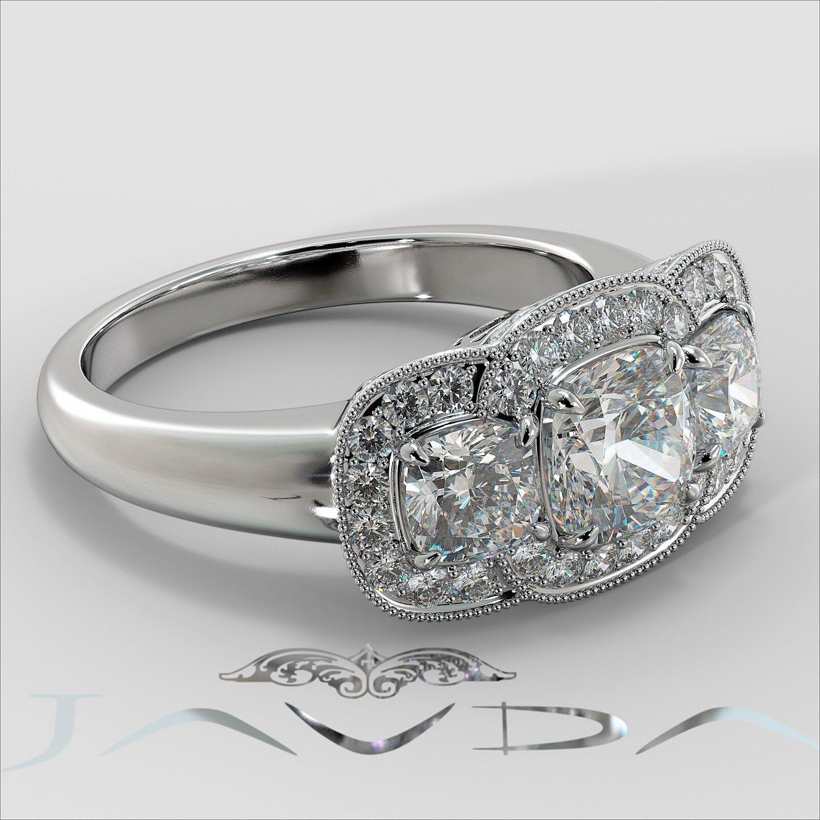 2.25ctw Milgrain Halo 3 Stone Cushion Diamond Engagement Ring GIA I-SI1 W Gold 2