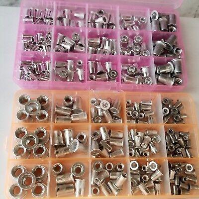 300 pcs AluminumRivet NutKit Rivnut Nutsert Assort (150pcs Metric+150pcs SAE) Aluminum Metric Nuts
