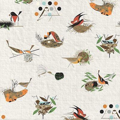 Bird Architect BARKCLOTH Charley Harper Birch By the yard x 58 inOrganic Cotton