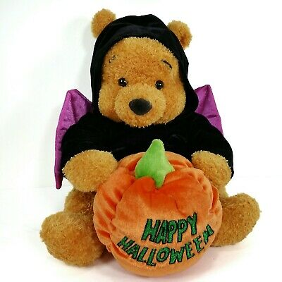 Winnie the Pooh Happy Halloween Plush In Bat Costume With Pumpkin by Disney