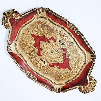 Vintage Antique? Red & Gold Dressing Table Tray Lacquered Paper Mache Florentine