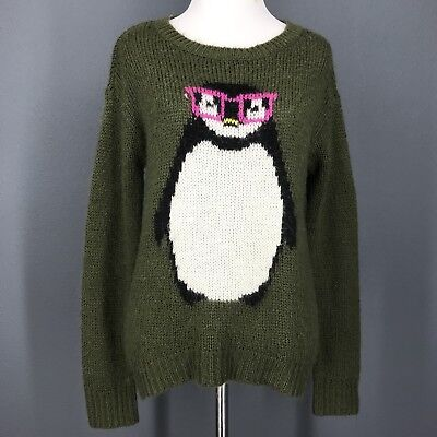 Christmas Sweater S Juniors Green Nerdy Penguin Print Winter REWIND Womens ()