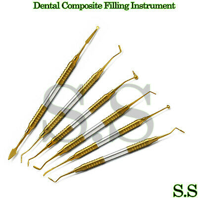 6 Pcs Dental Composite Filling Instrument Gold Titanium Coated Restorati Dn-2189