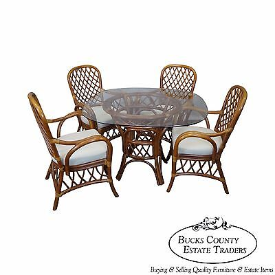 Dining Collection Dining Table (South Sea Rattan Collection Glass Top Dining Table & 4 Chair)