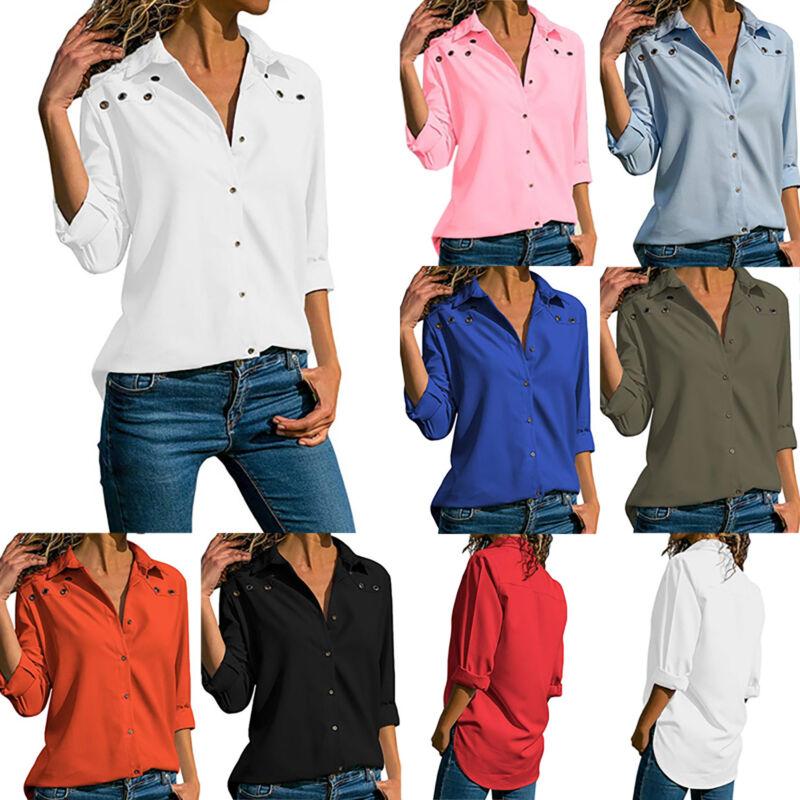 Damen Langarm Freizeit Button Down Business Casual Blusen Arbeit Oberteile Hemd