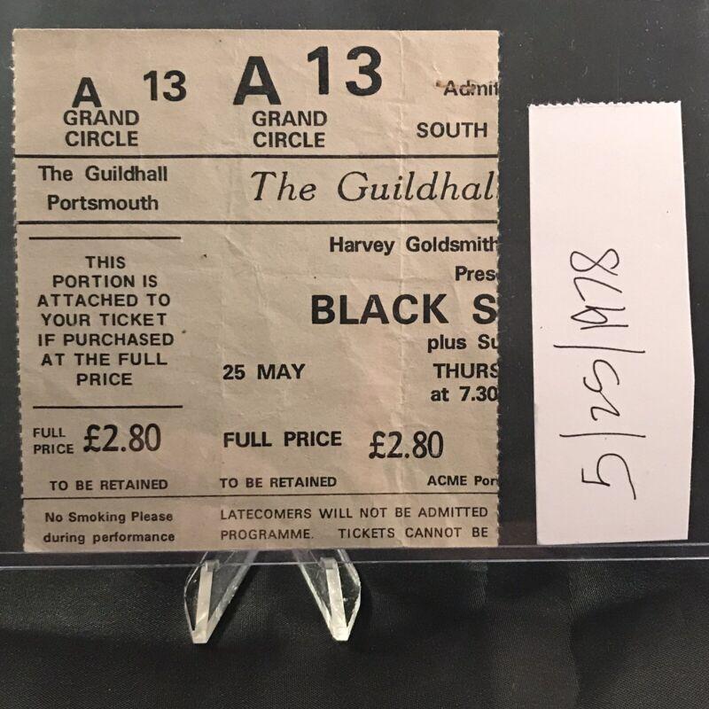 Black Sabbath Van Halen The Guildhall Portsmouth UK Concert Ticket Stub May 1978