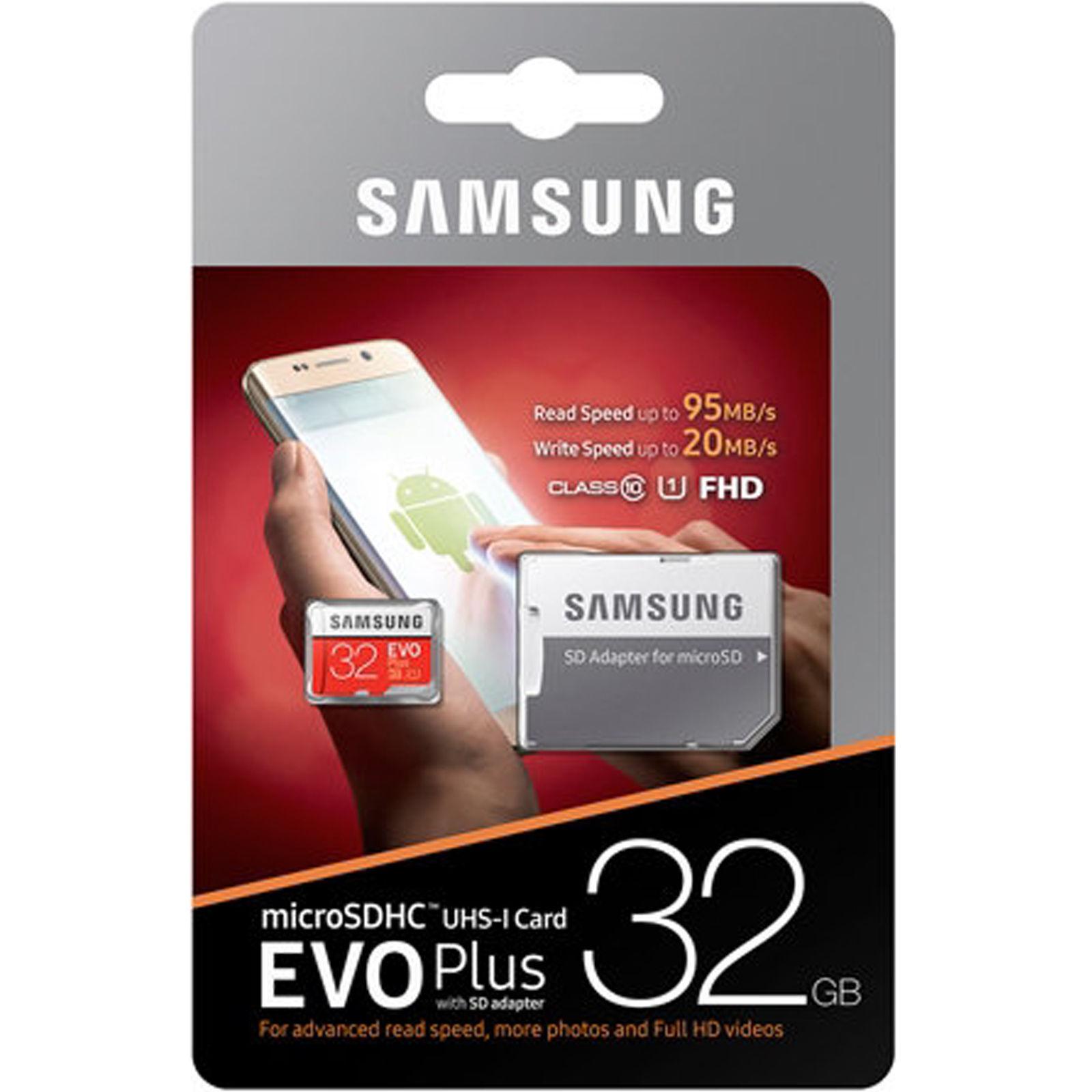 SAMSUNG EVO Plus 32GB MicroSD Micro SDHC C10 Flash Memory Ca