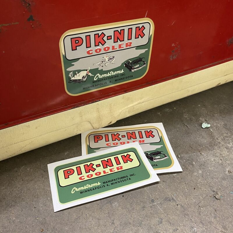 Pik Nik Vintage Reproduction Decals Ice Chest Water Jug Cooler