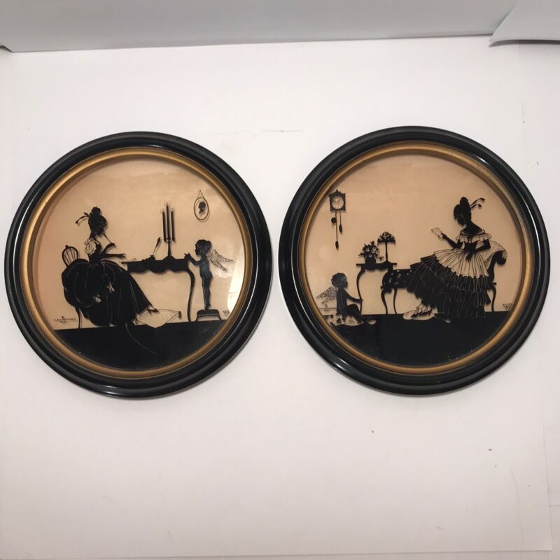 Vintage C & A Richards - Boston - Victorian Framed Silhouettes. 362, 363. Lot 2