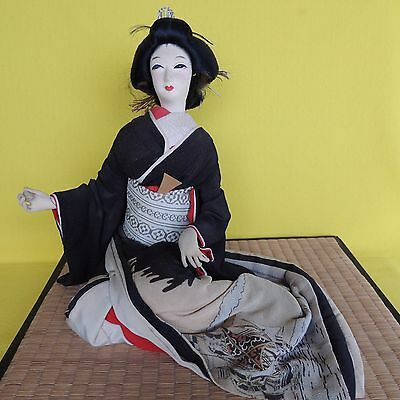 Vintage Beautiful Seated Japanese Doll  Exquisite Costume on Woven Base