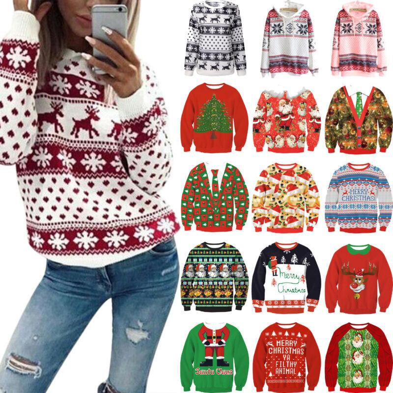 Womens Christmas Xmas Long Sleeve Hoodie Sweatshirt Casual S