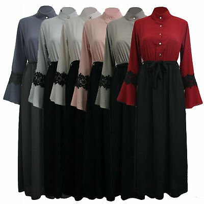 Womens Ladies Button up Long Sleeve Flare Abaya Jilbab Belted Maxi Dress UK 8-14
