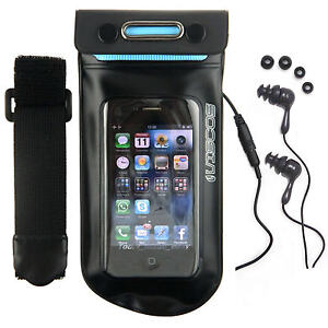 Waterproof EARPHONES +BAG mp3 CASE iPod Nano 5 5th Gen Armband iPhone 4s 4Gs 4G
