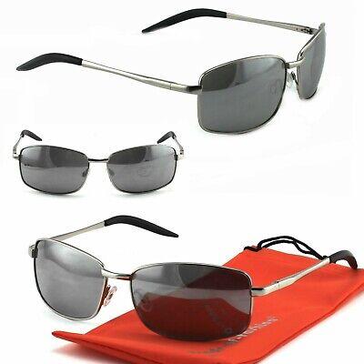 Coole Herren Sonnenbrille Silber Schmale Sport Brille Security Design R8 chrom
