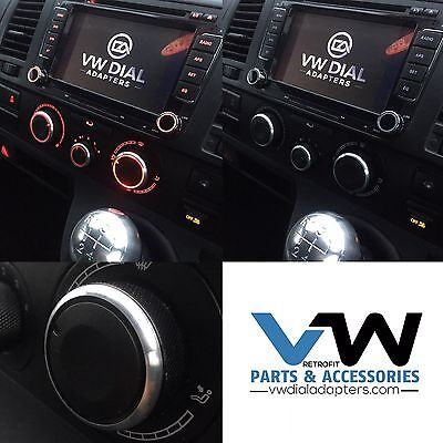 For VW Transporter Heater Control Upgrade Dials+Adapters Black T5 T5.1 & T6 Mod