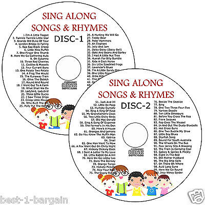 100 kids singalong songs children's favourite nursery rhymes on 2 AUDIO CDs set