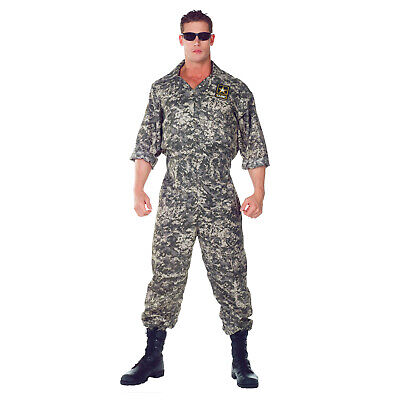 Adult Men's U.S Army Military Camouflage Top Gun Soldier Costume Jumpsuit 2XL](Army Men Costumes)