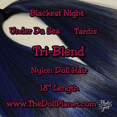 XL 2 oz Tri-Blend Midnight Black & Blue Nylon Doll Hair Hank for Rerooting Dolls