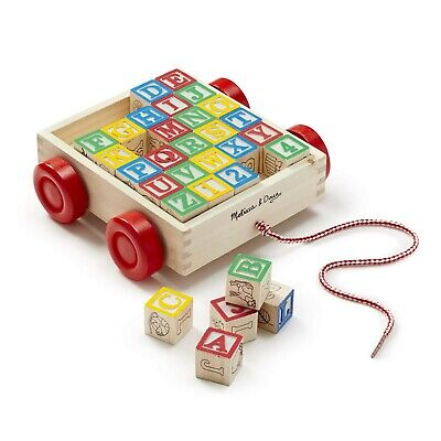 Melissa & Doug Classic ABC Wooden Block Cart Educational Toy With 30Solid Blocks](Wooden Abc Blocks)