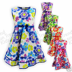 Girls-Floral-Dress-Flower-Girl-Summer-Dress-Bright-Colours-Kids-1-12-Years-New