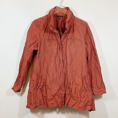 Eileen Fisher Crinkled Jacket Rust Size L Hidden Hood