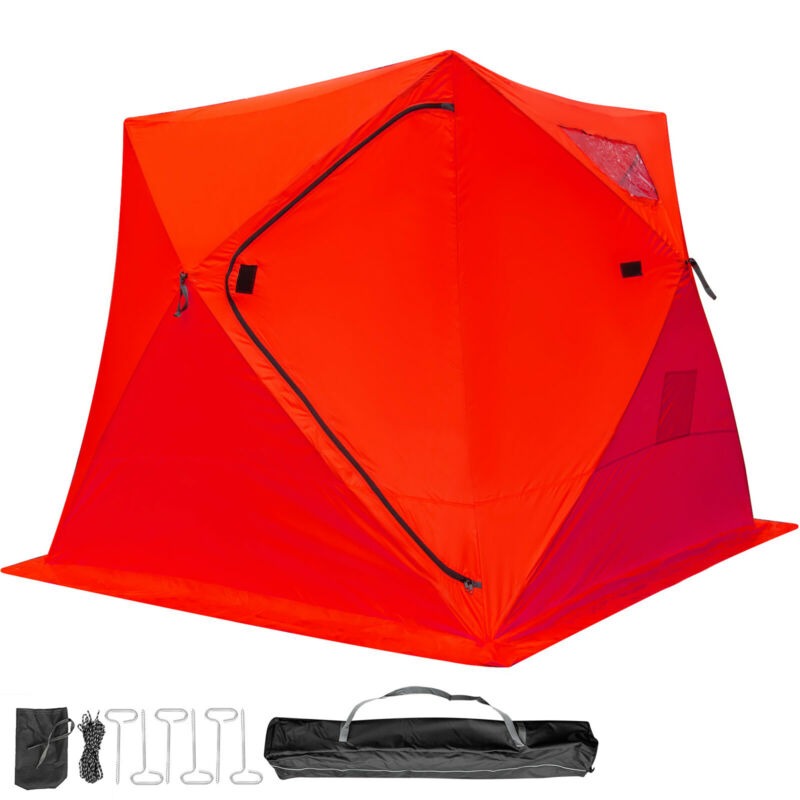 Ice Shelter Fishing Tent 4-person Accessories Room Stability Waterproof Red