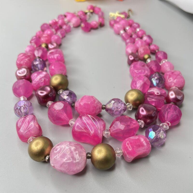 Vintage Plastic Pink Fushia Hot Pink Gold Tone 3 Strand W Germany Necklace