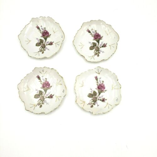 """Set of 4 Antique 4"""" Leaf Butter Pats / Teabag Holders"""