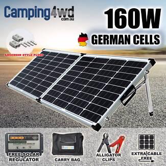 160w folding solar Panel Kit regulator bag caravan power charger