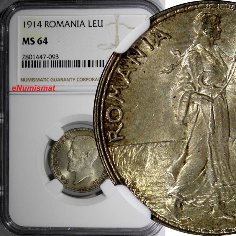 Romania Carol I Silver 1914 Leu NGC MS64 Nice Toned Hamburg Mint KM# 42
