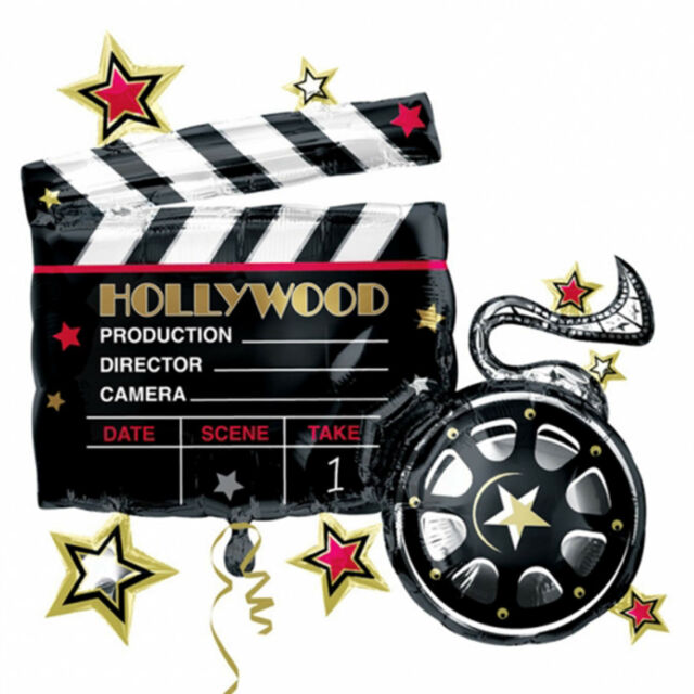 "30"" Hollywood Movie Film Reel Clapper Board Party Foil Supershape Balloon"