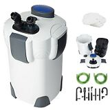 New 3-Stage External Aquarium Canister Filter 265GPH 75Gal with Built-in Pump
