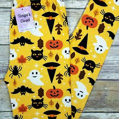 Scary Cats Ghosts Leggings Halloween Pumpkin Spider Buttery Soft ONE SIZE OS  - Scary Halloween Pumpkins