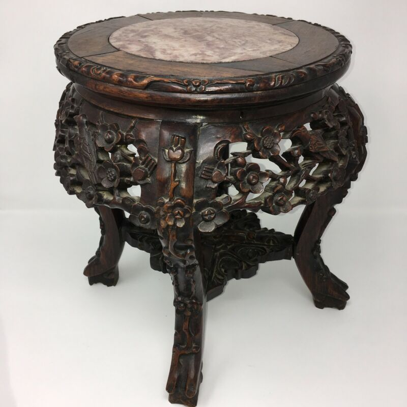 c1860 Carved Rosewood Plant Stand Marble Top Antique Wood Table Birds Flowers