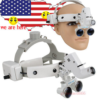 Dental Binocular Loupes Surgical Eyeglasses Magnifier Led Headlight 3.5x 420mm