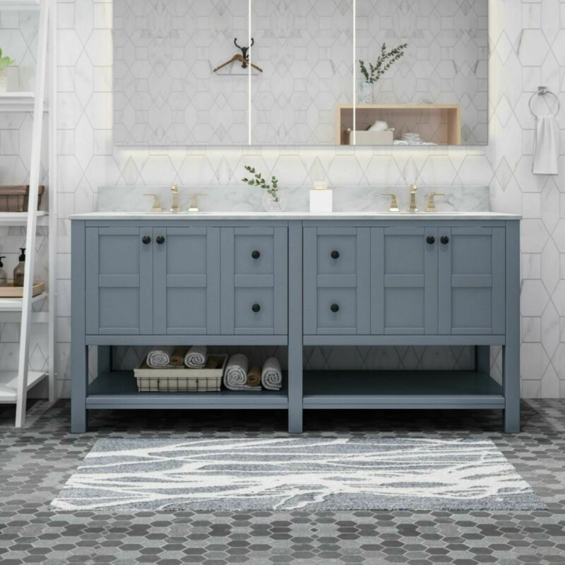 """Jamison Contemporary 72"""" Wood Bathroom Vanity (Counter Top Not Included)"""