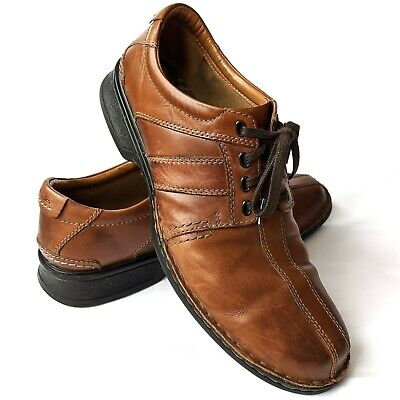 Clarks Leather Oxford Men's 10.5 M Shoes Soft Cushion With Ortholite Brown