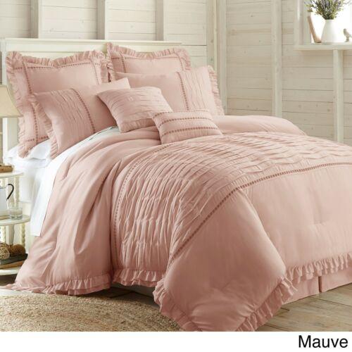 Queen Cal King Bed Mauve Pink Ruffled Pintuck Pleat 8 pc Com