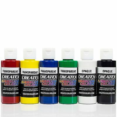 Createx Airbrush Farben Set 6x 60ml Basis Transparent Airbrushfarben Acrylfarben
