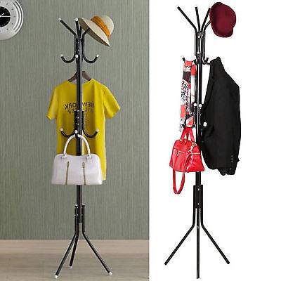 - 12 Hook Coat Hanger Stand 3 Tier Hat Bag Clothes Metal Storage Tree Style Rack