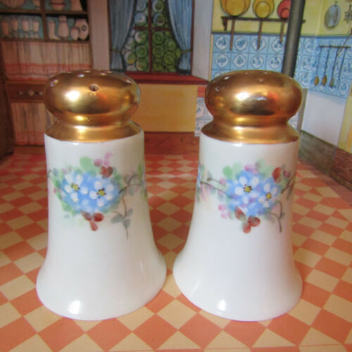Antique Edwardian NIPPON NORITAKE ART NOUVEAU Floral Salt Shakers Porcelain Gold