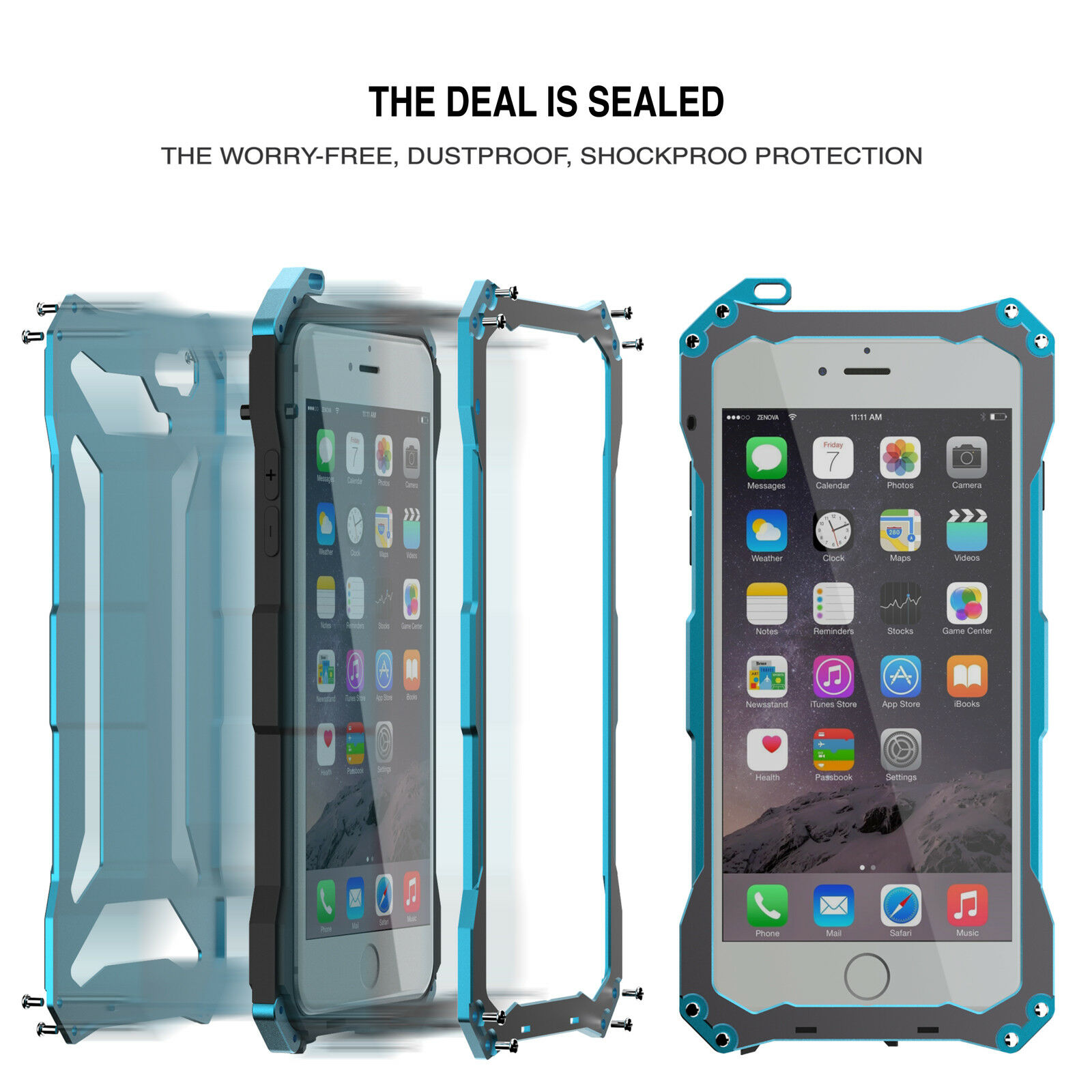 For iPhone SE 6s Plus 7 8 Shockproof Aluminum Metal Rugged Protective Case Cover